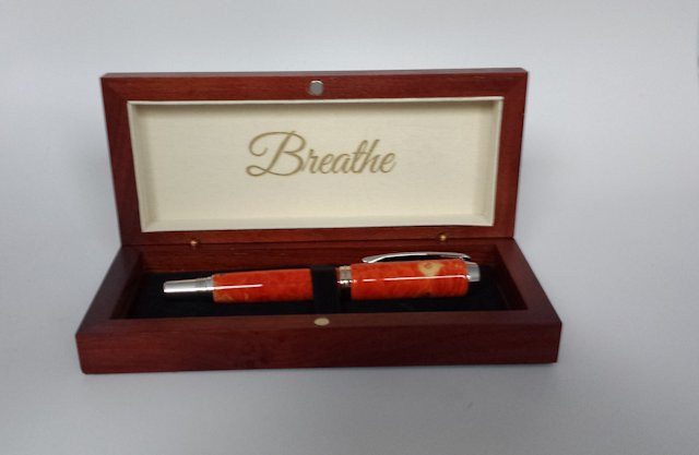 Bubinga Pen Box  - Inside Engraving Example